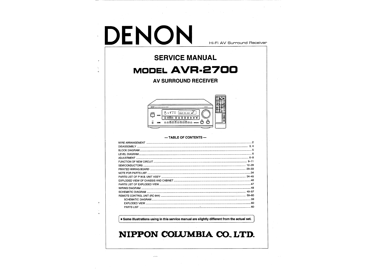 Denon avr 2700 Manual