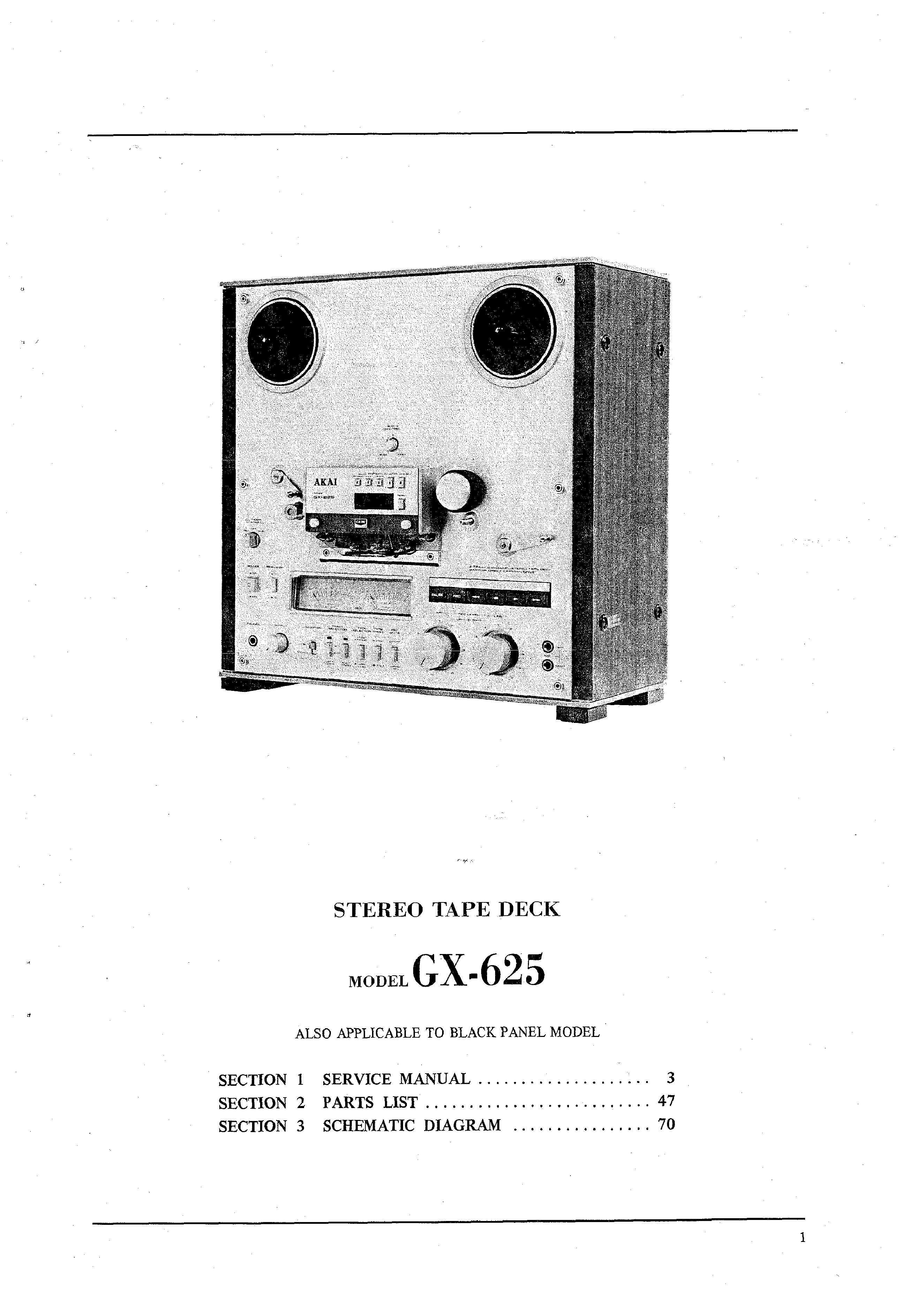 Service Manual For Akai Gx-625