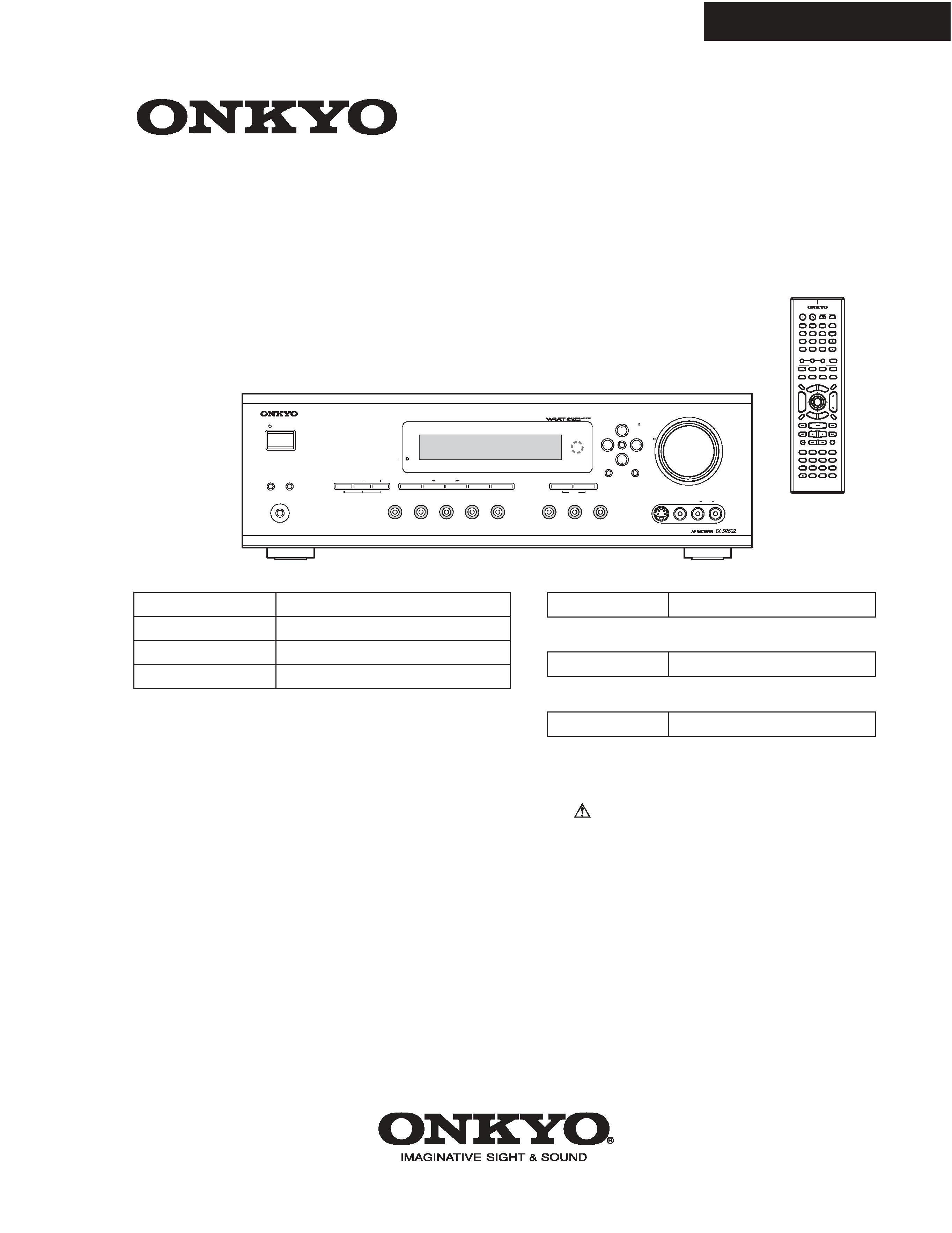 Service Manual For Onkyo Tx-sr502