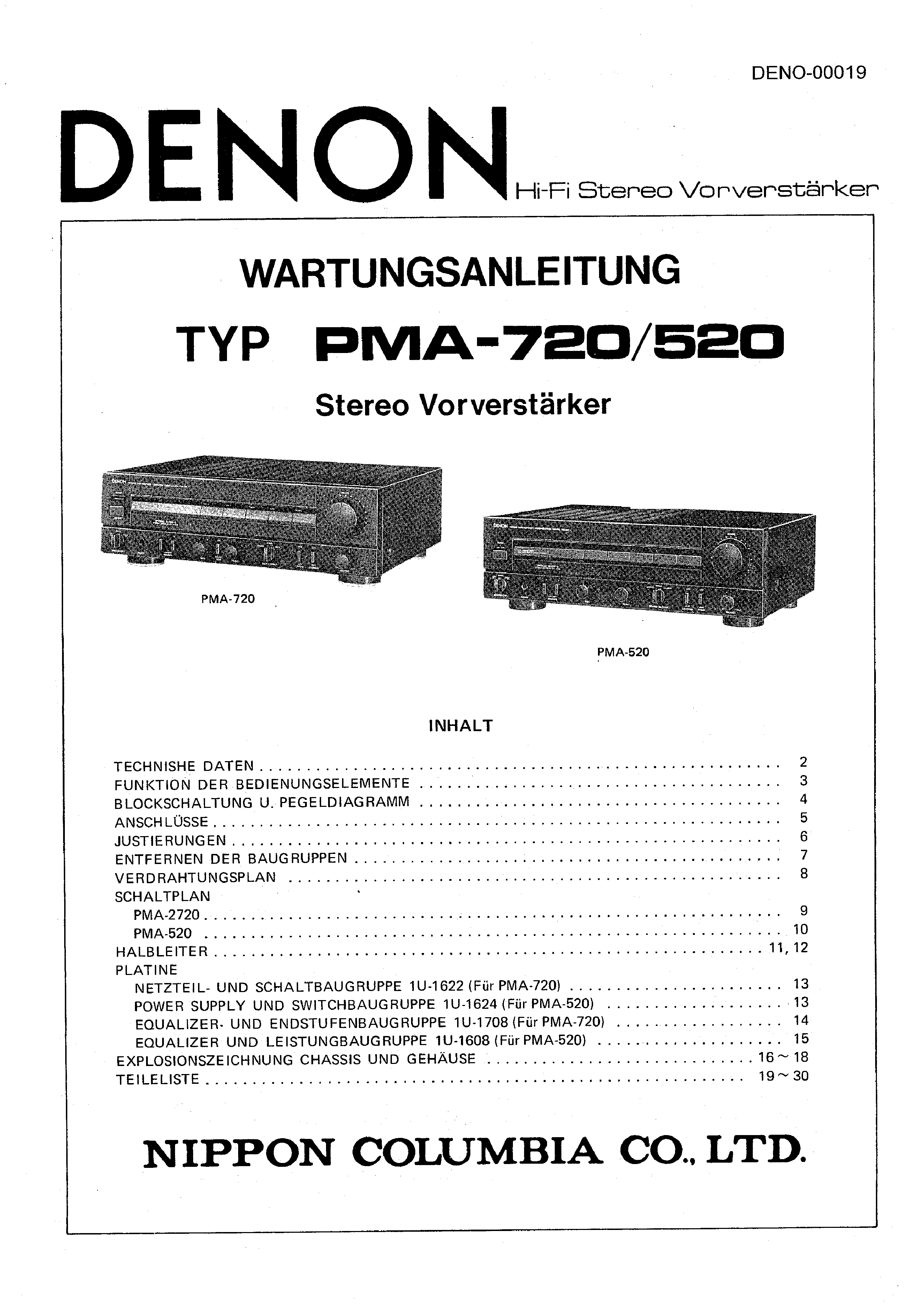Service Manual for DENON PMA-520 - Download