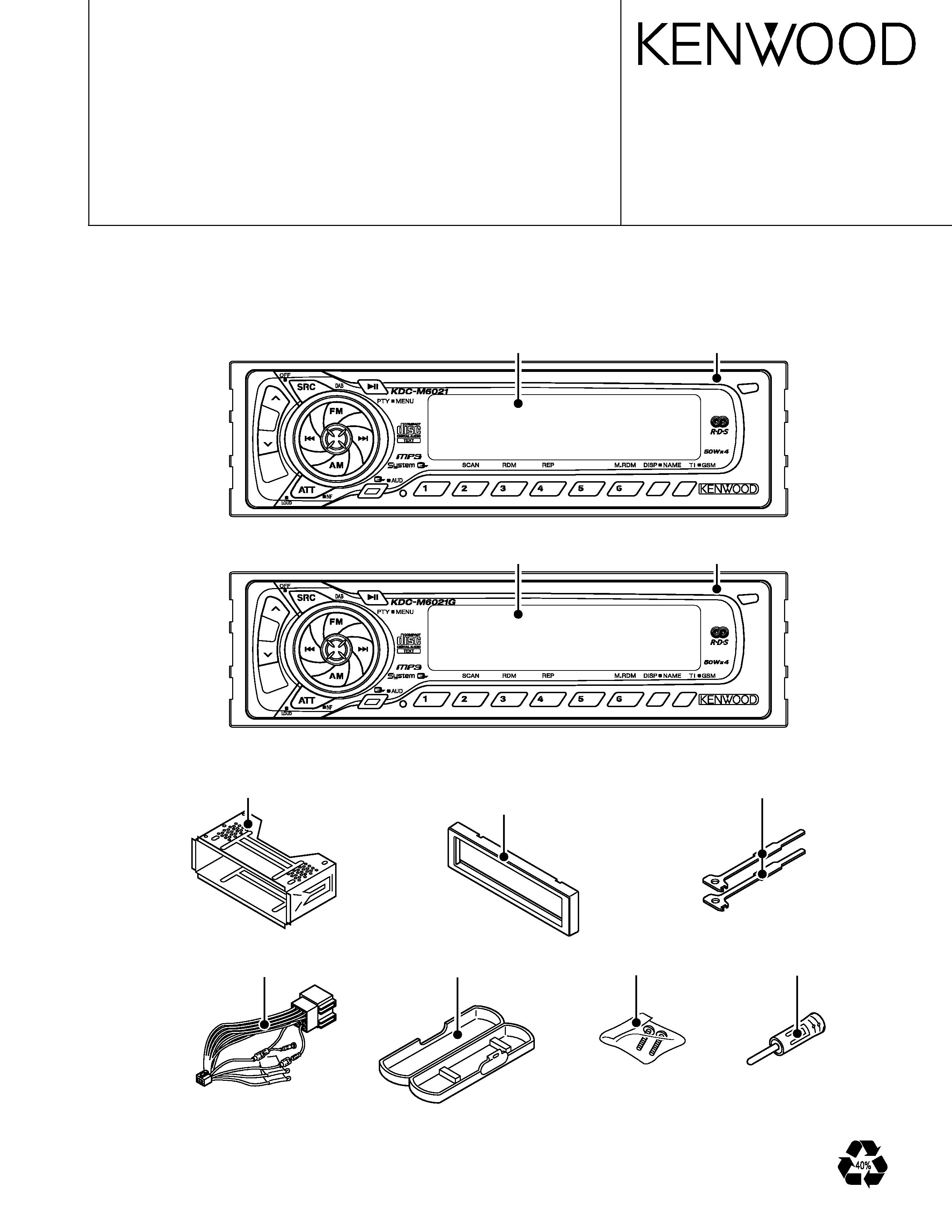 Service Manual For Kenwood Kdc-m6021g