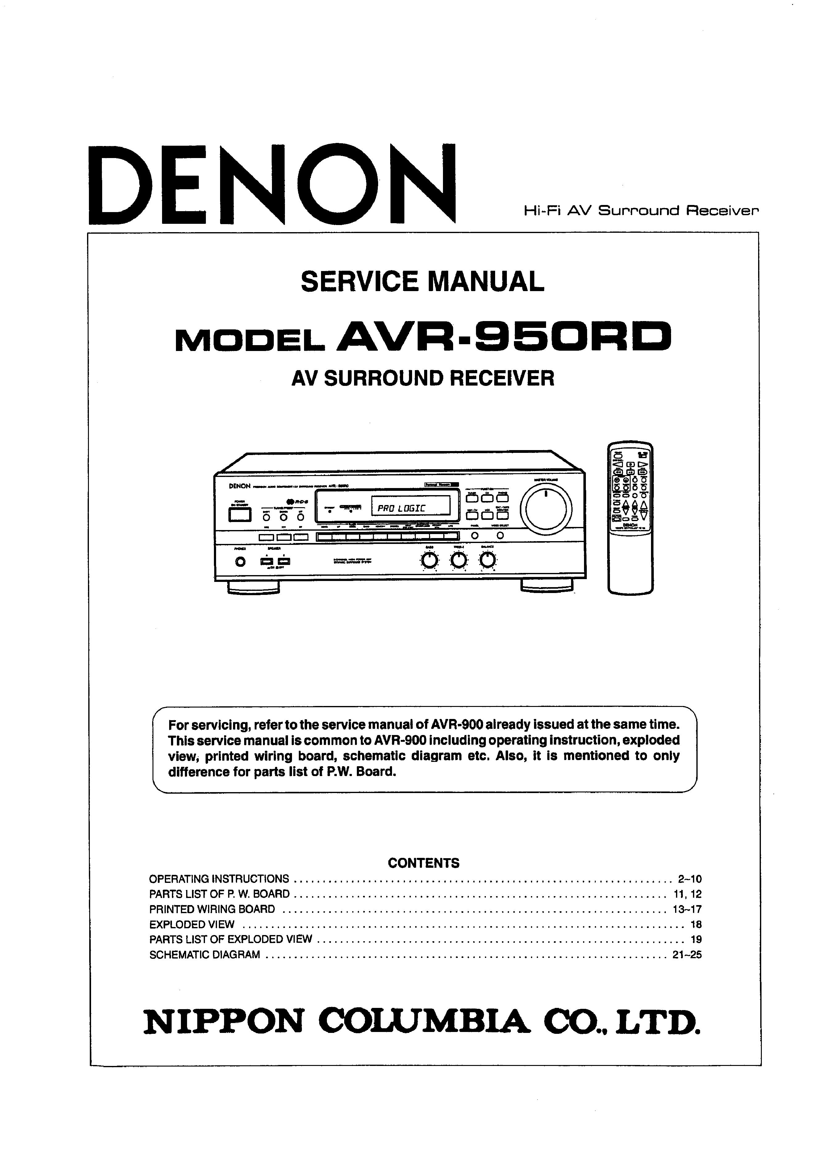 Service Manual For Denon Avr950rd