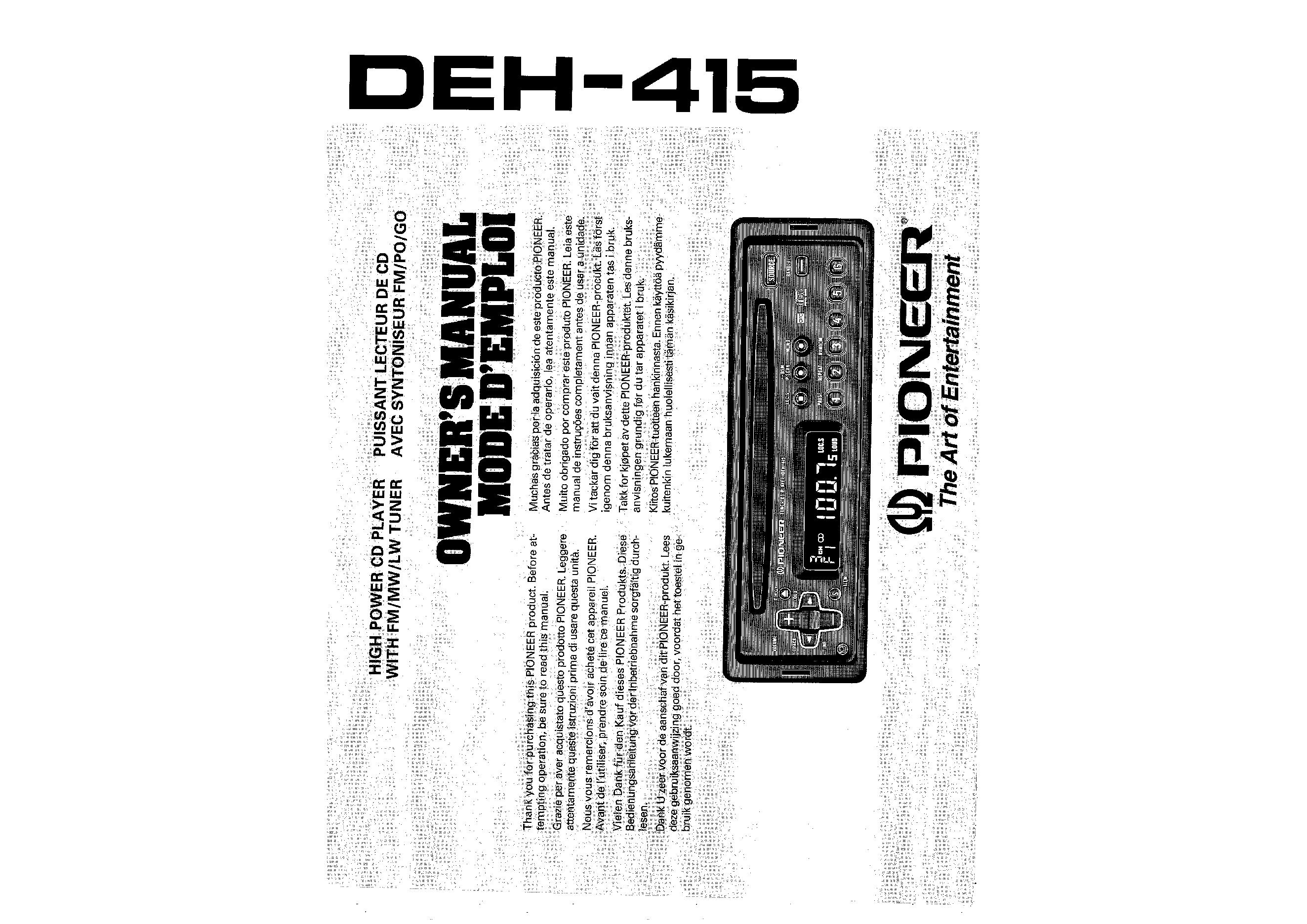 owner u0026 39 s manual for pioneer deh-415