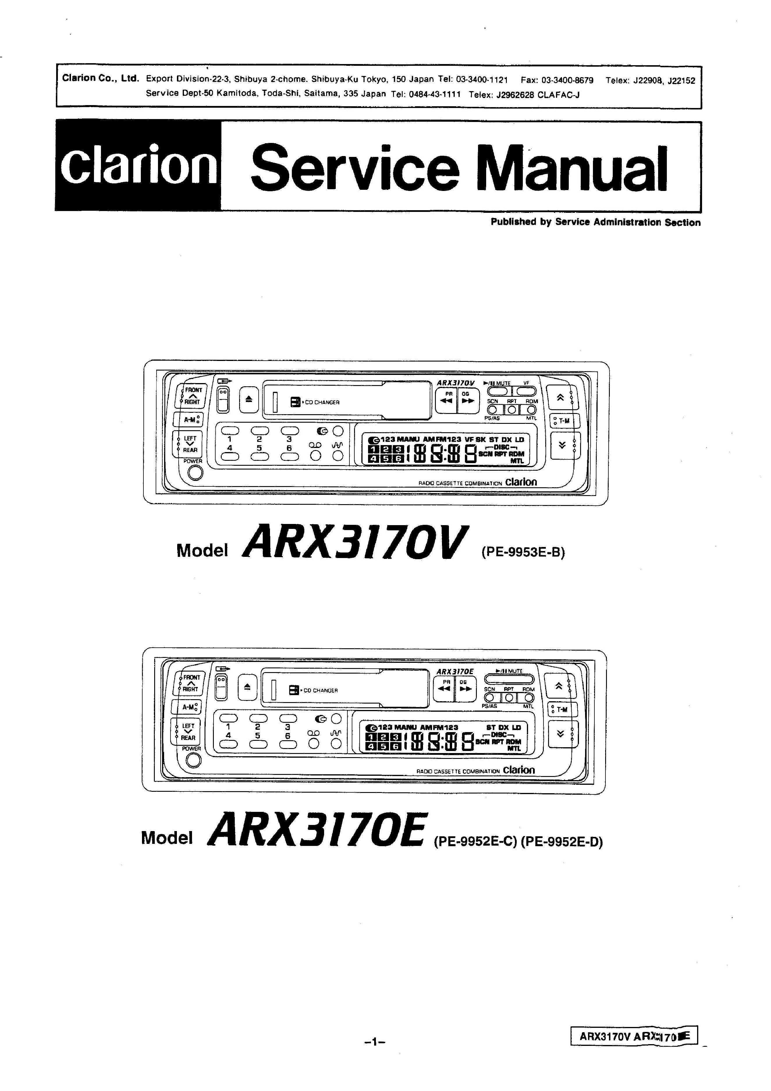 Service Manual For Clarion Arx3170v E Download Wiring Diagram Free Schematic