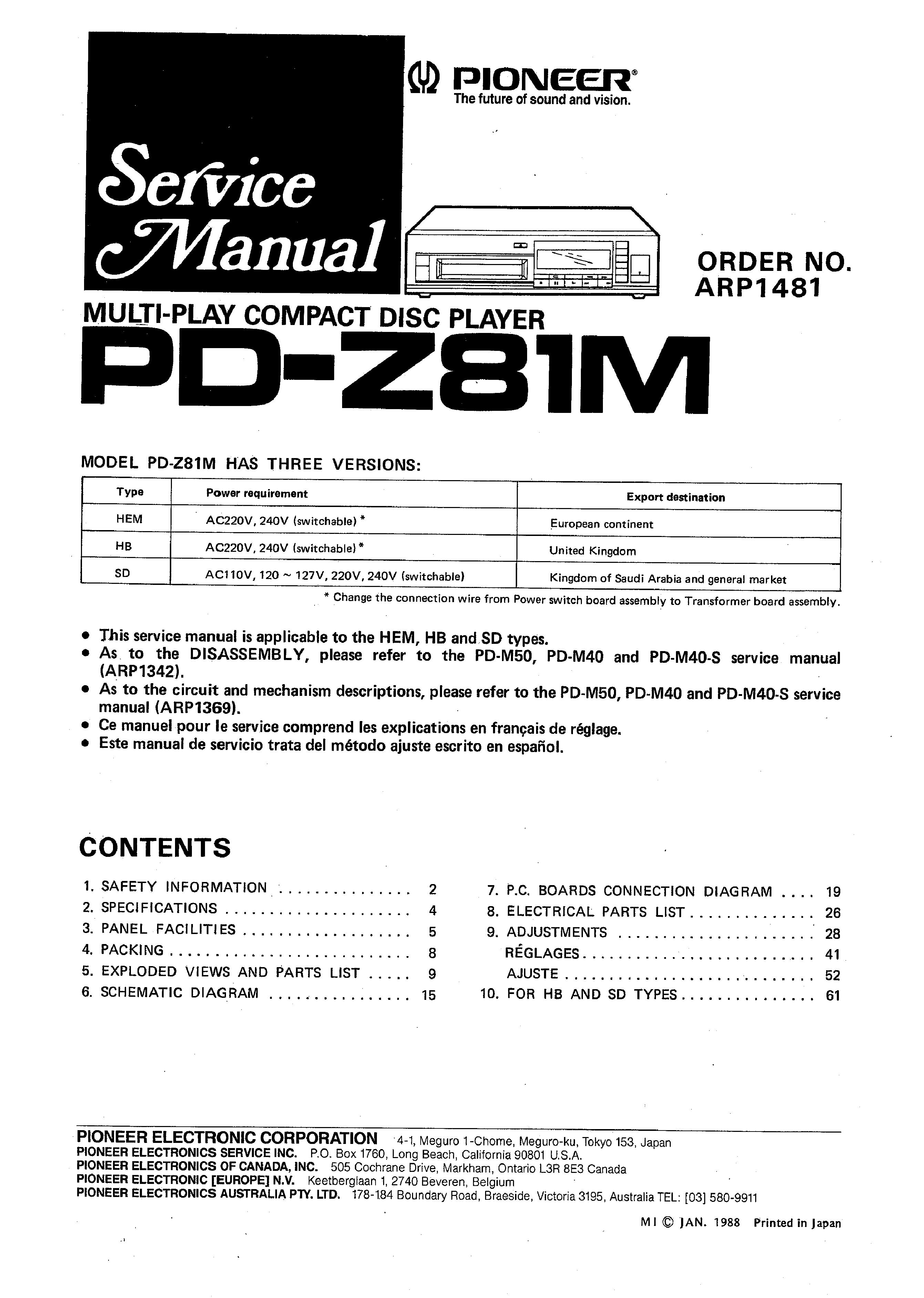 PIONEER PRO98 - Service Manual Immediate Download