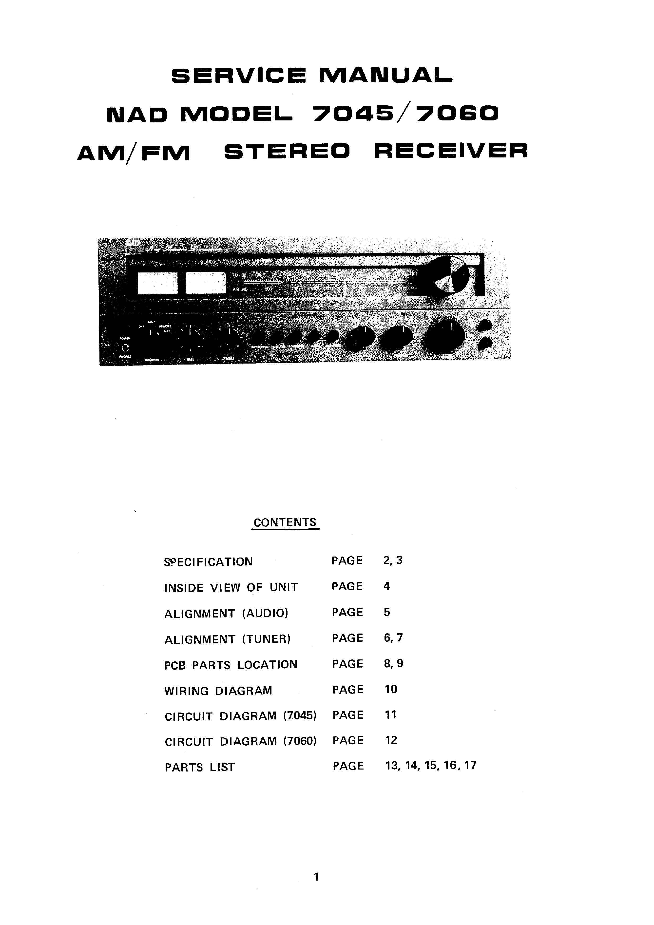 Service Manual For Nad 7060