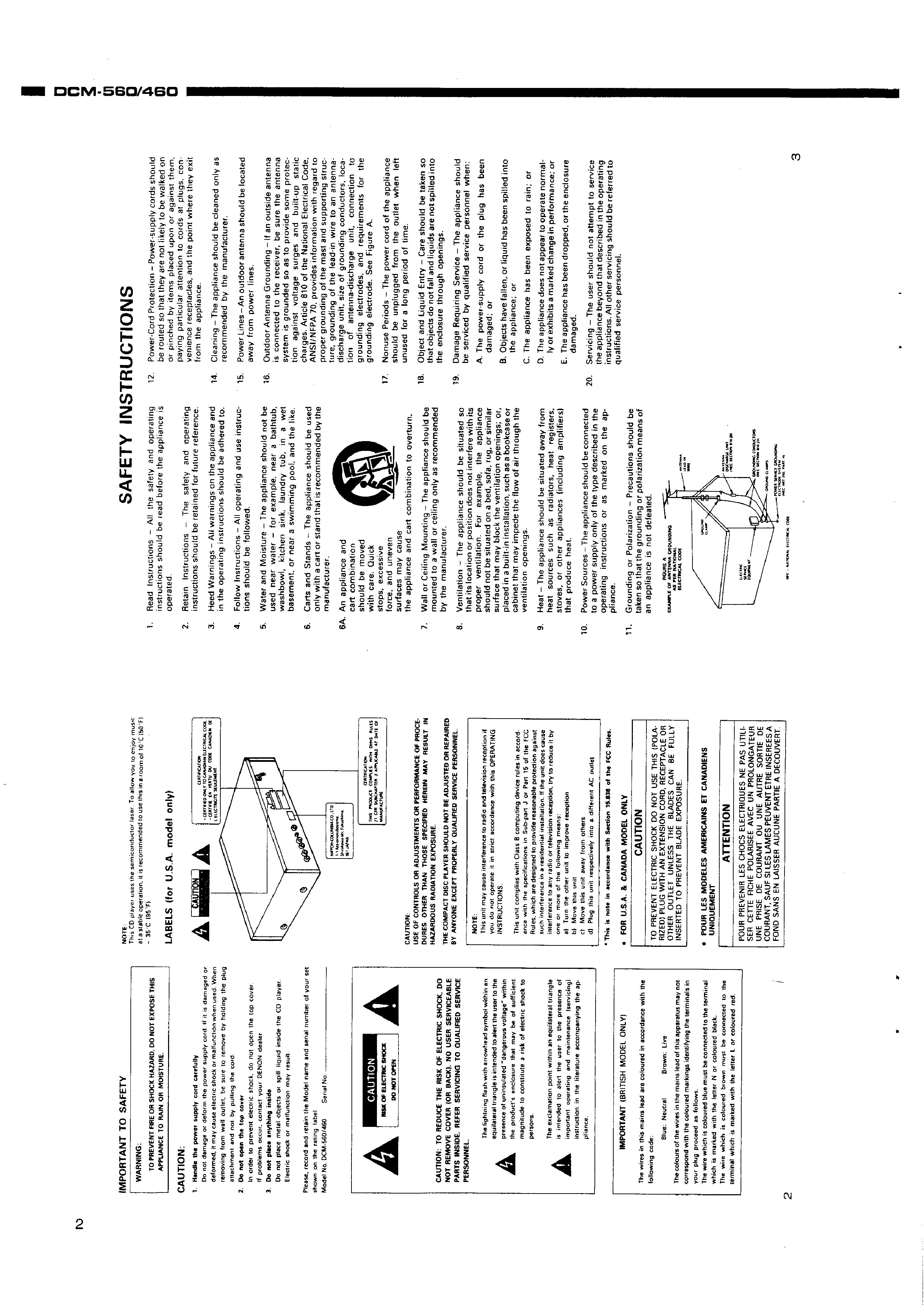 service manual for denon dcm-560