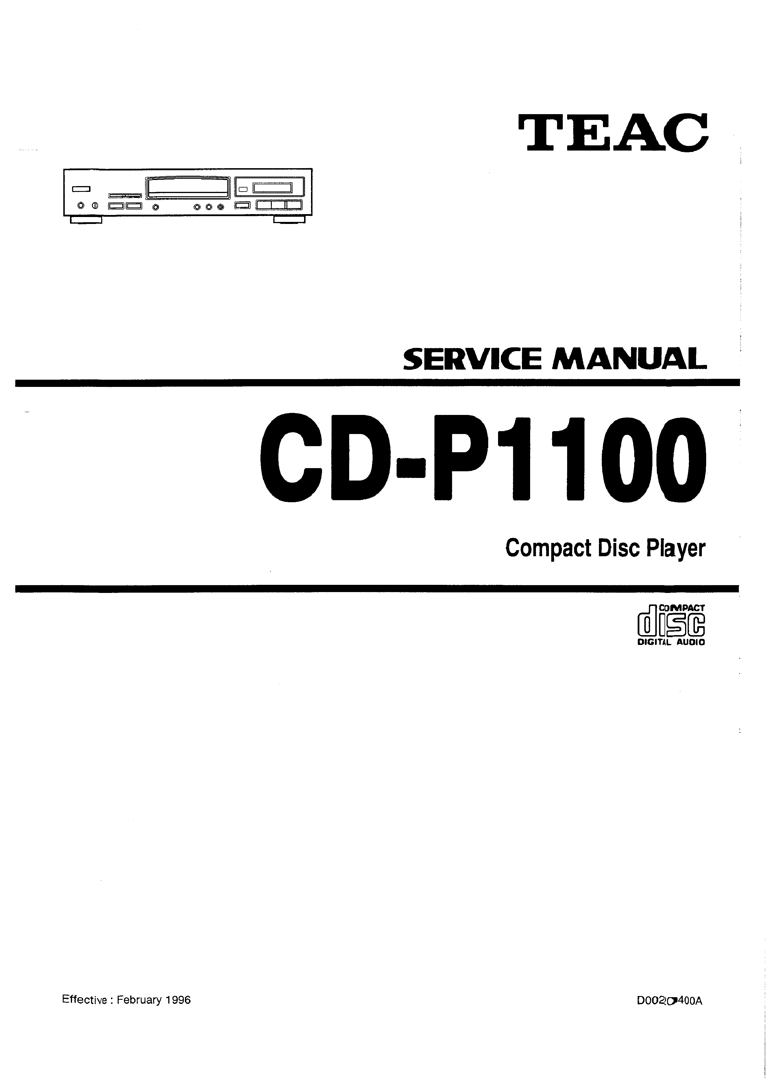 Service Manual for TEAC CDP1100 - Download