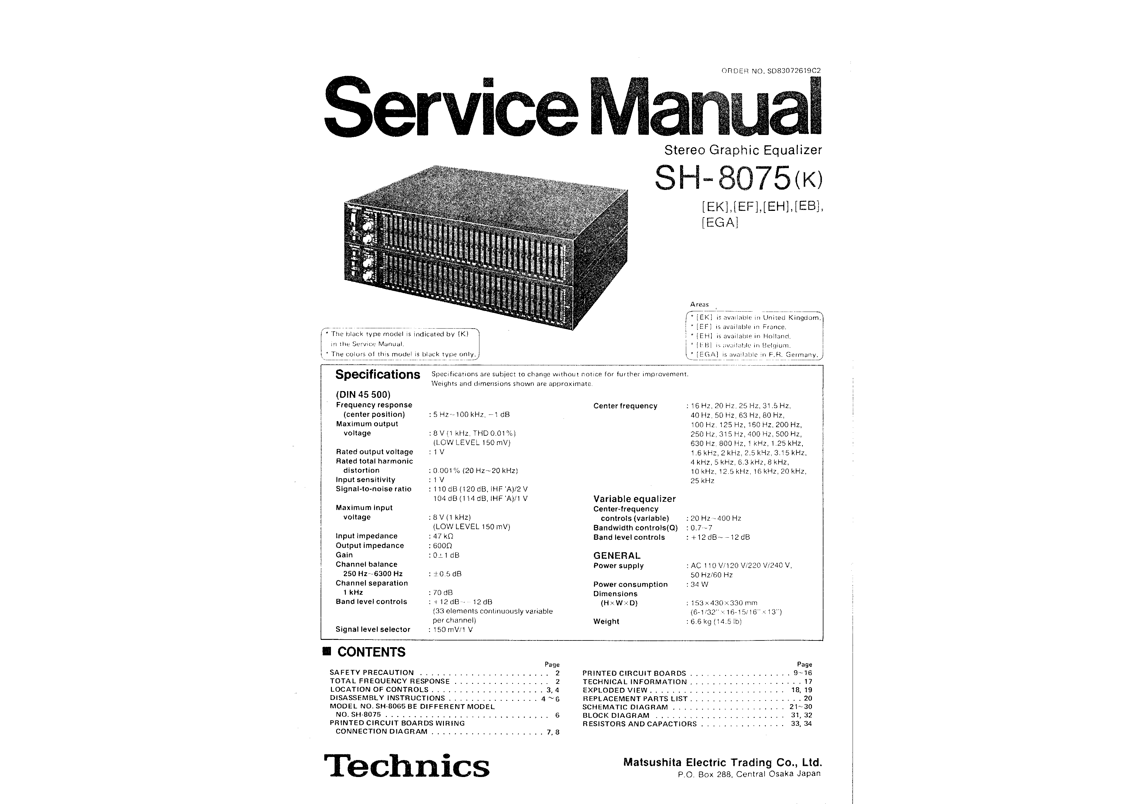 Service Manual for TECHNICS SH-8075 - Download
