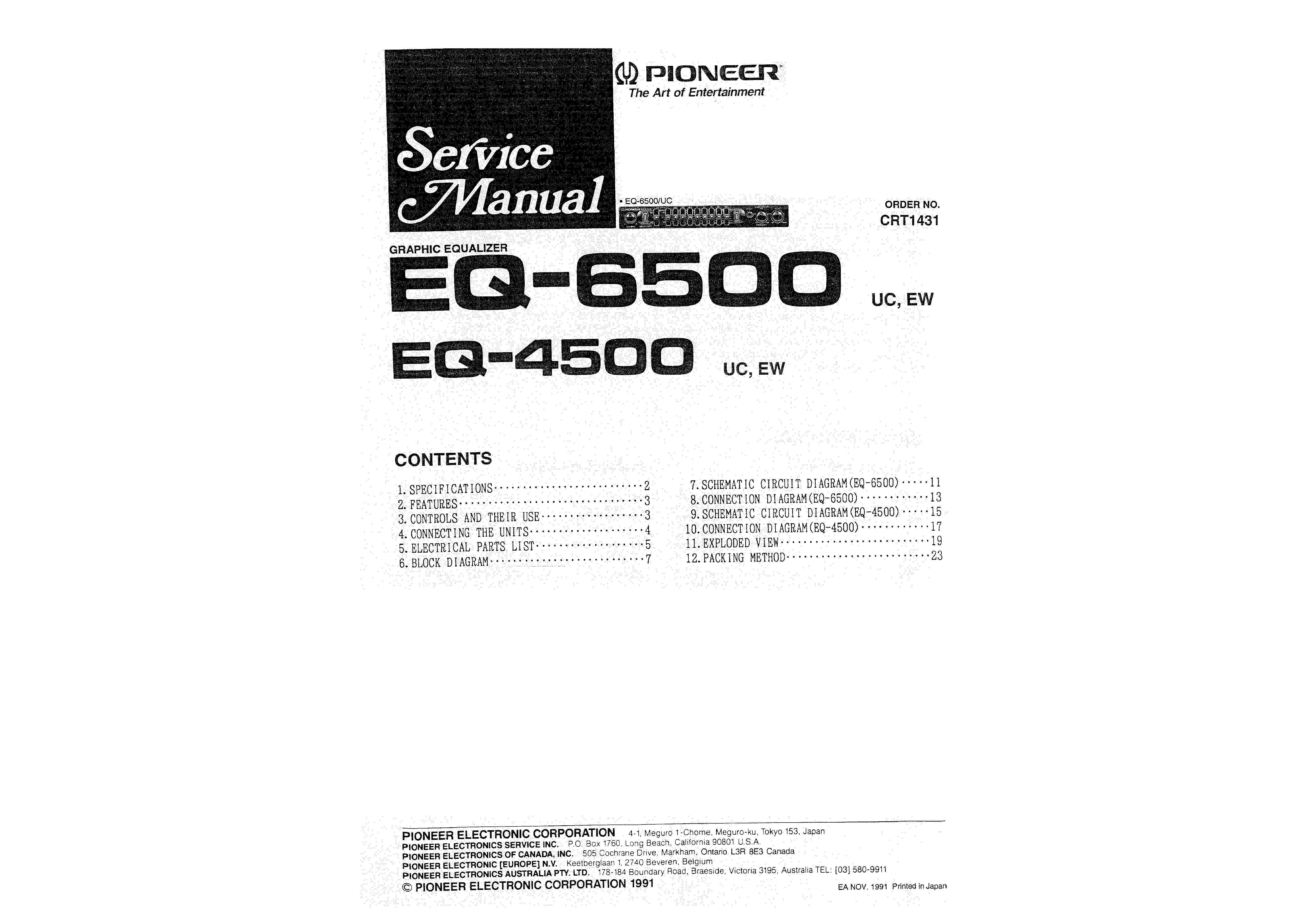 Service Manual For Pioneer Eq-4500 Uc Ew