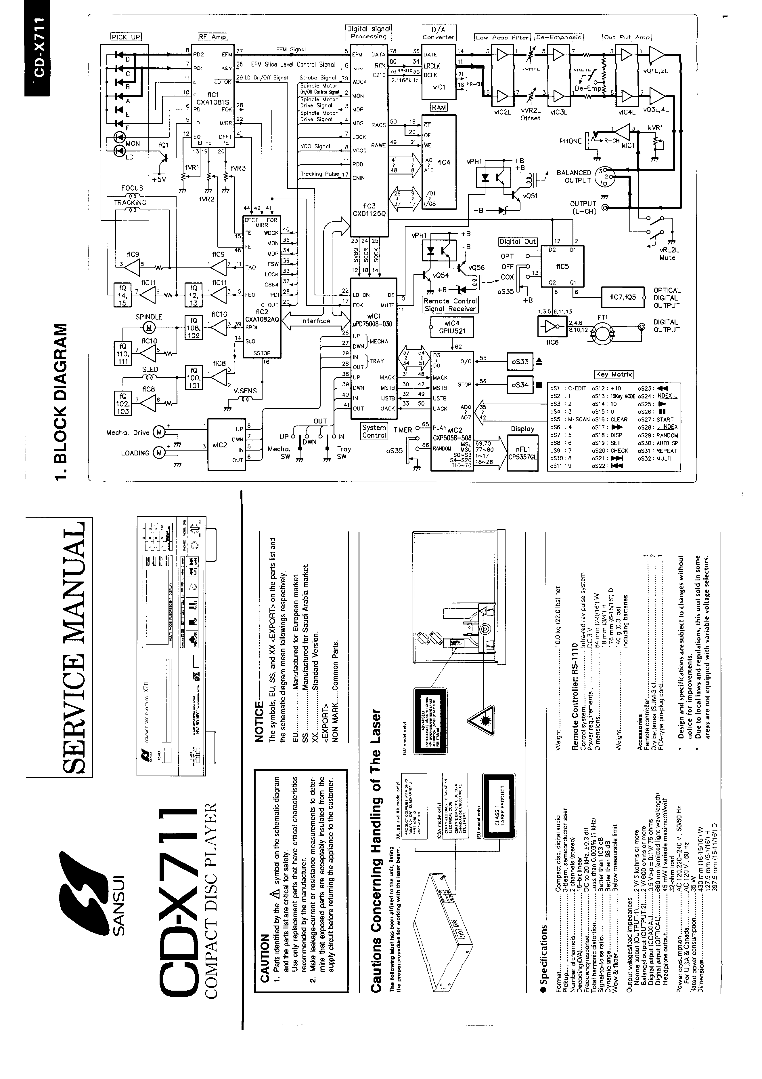 service manual for sansui cd-x711