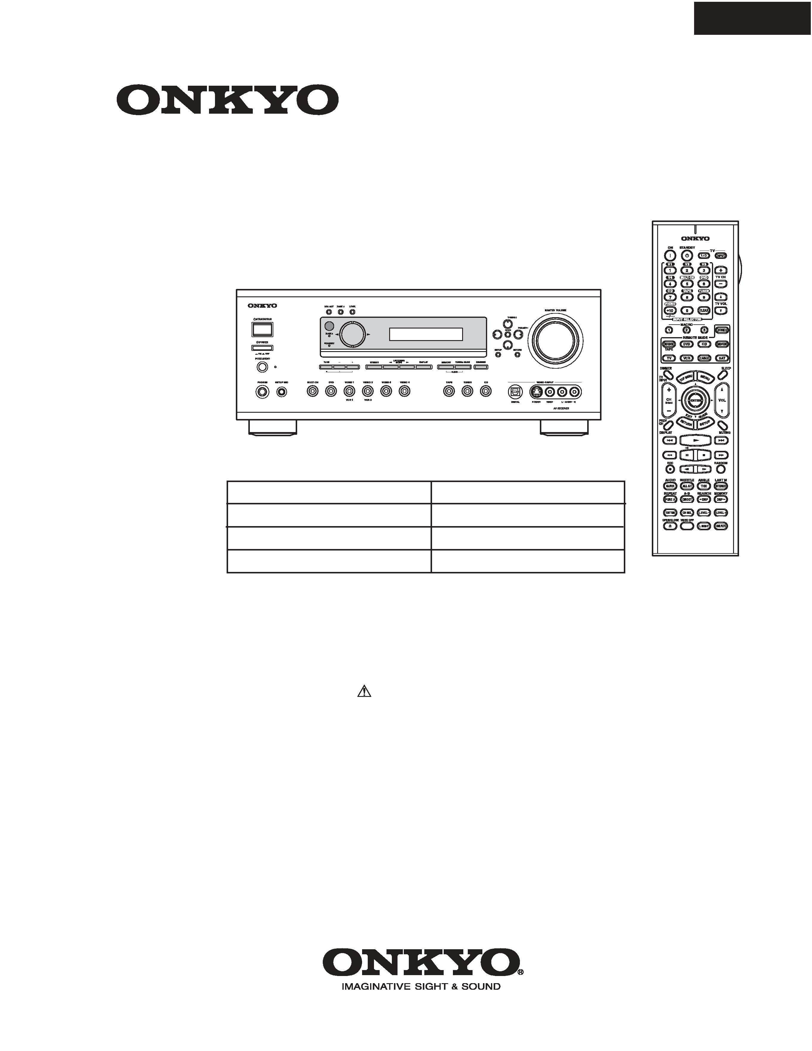 Onkyo Av Receiver Tx-sr602 Manual