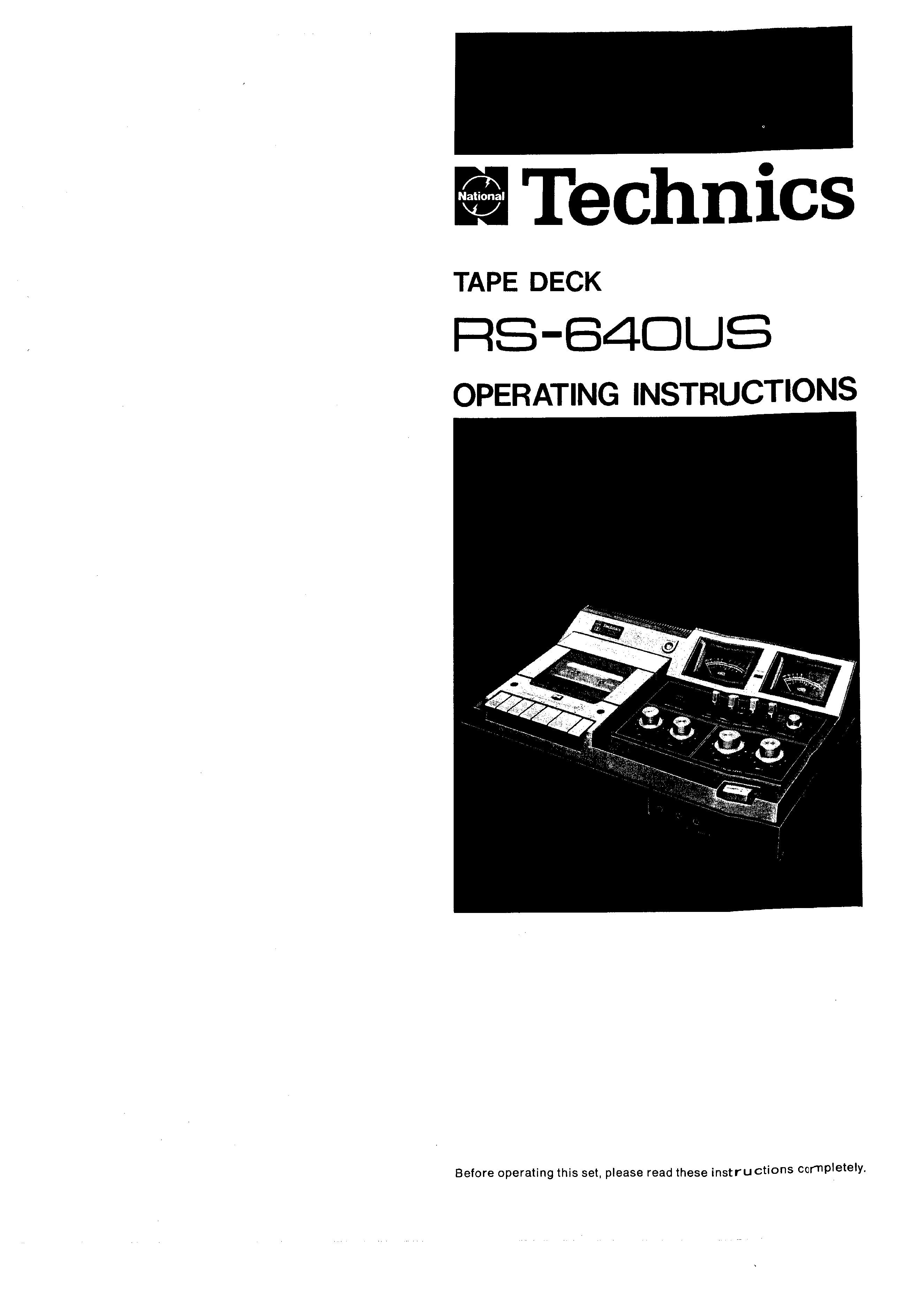 Owner's Manual for TECHNICS RS-640US - Download