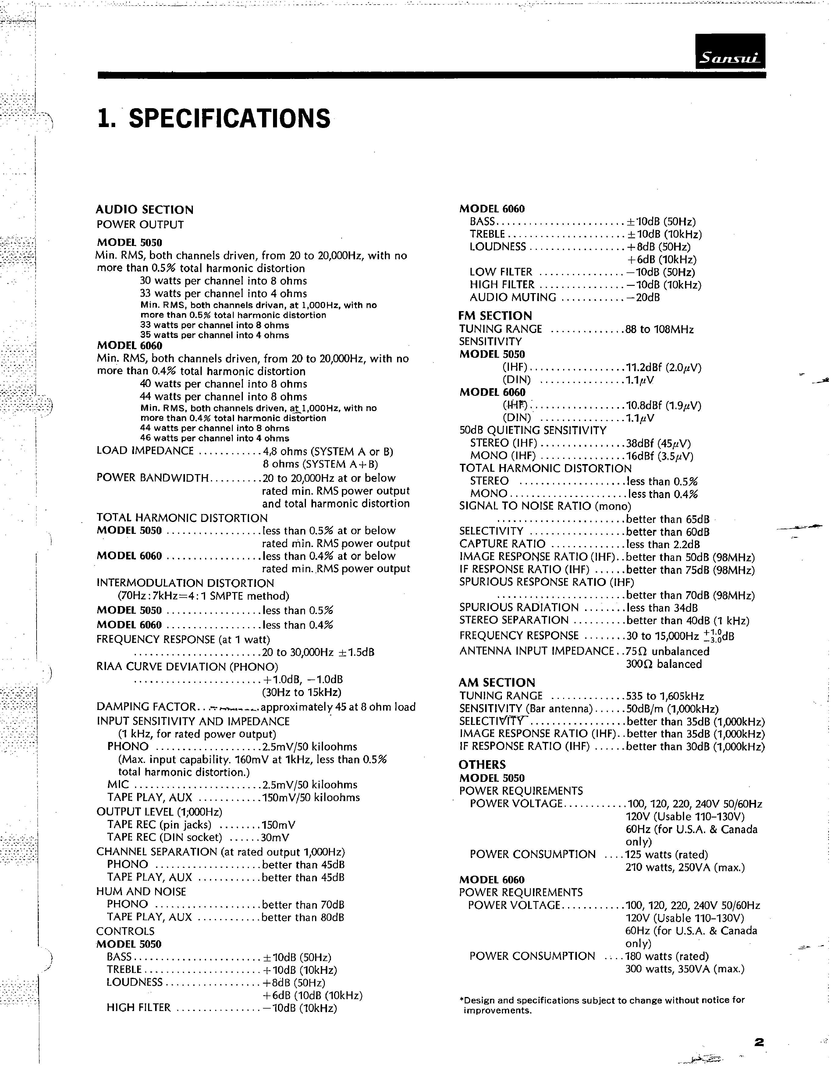 service manual for sansui 6060