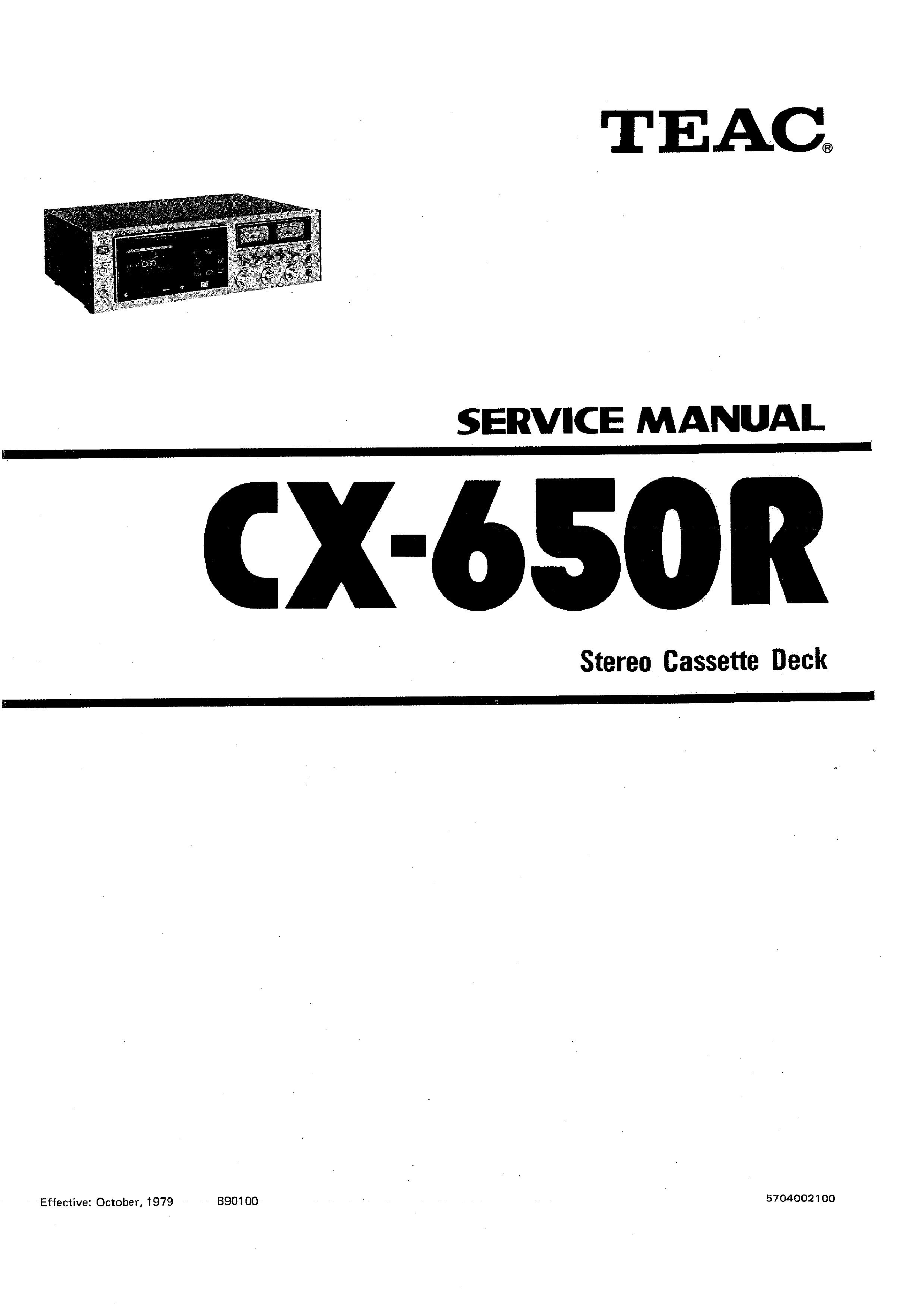 Service Manual for TEAC CX-650R - Download