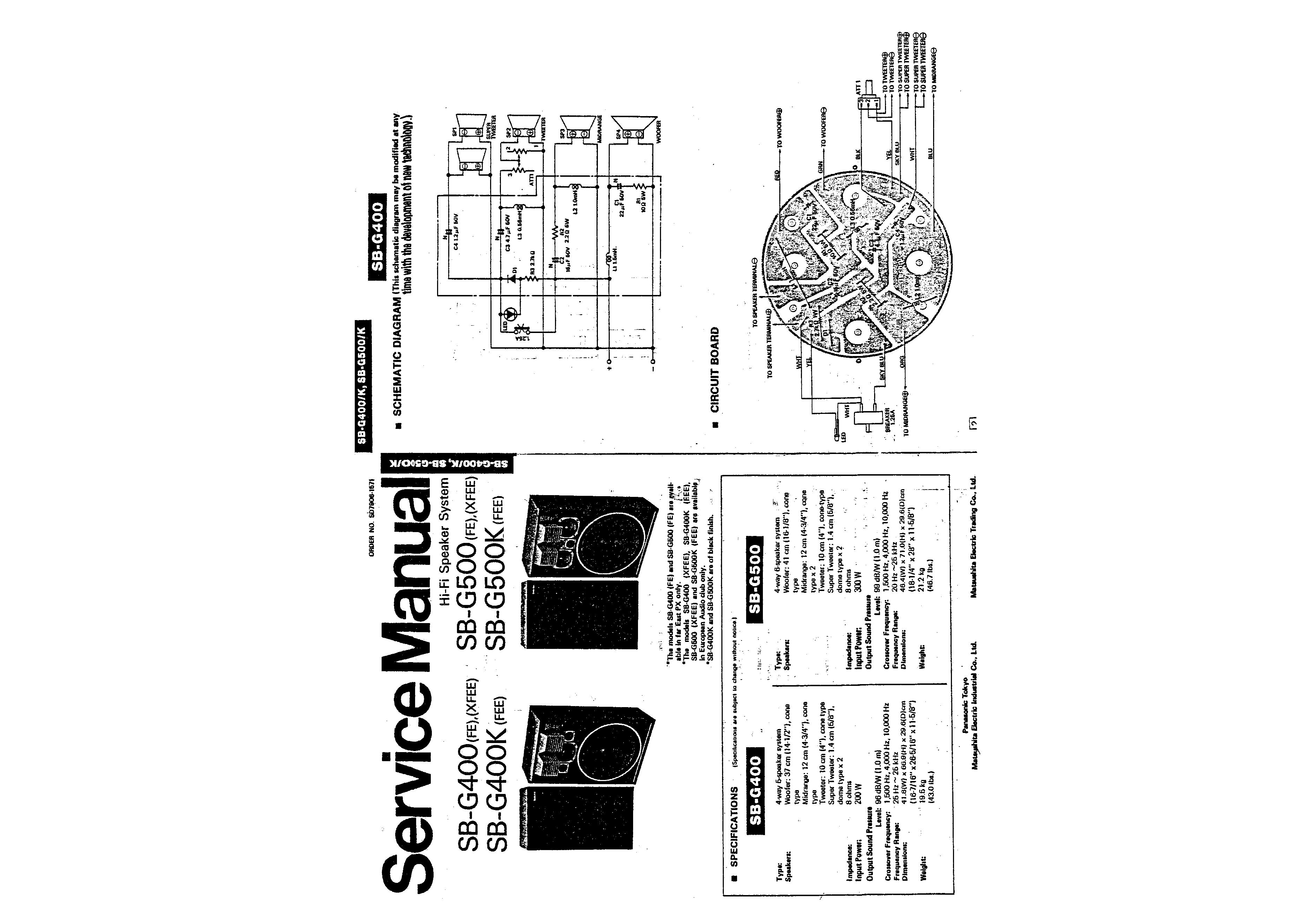 Service Manual For Technics Sb-g400