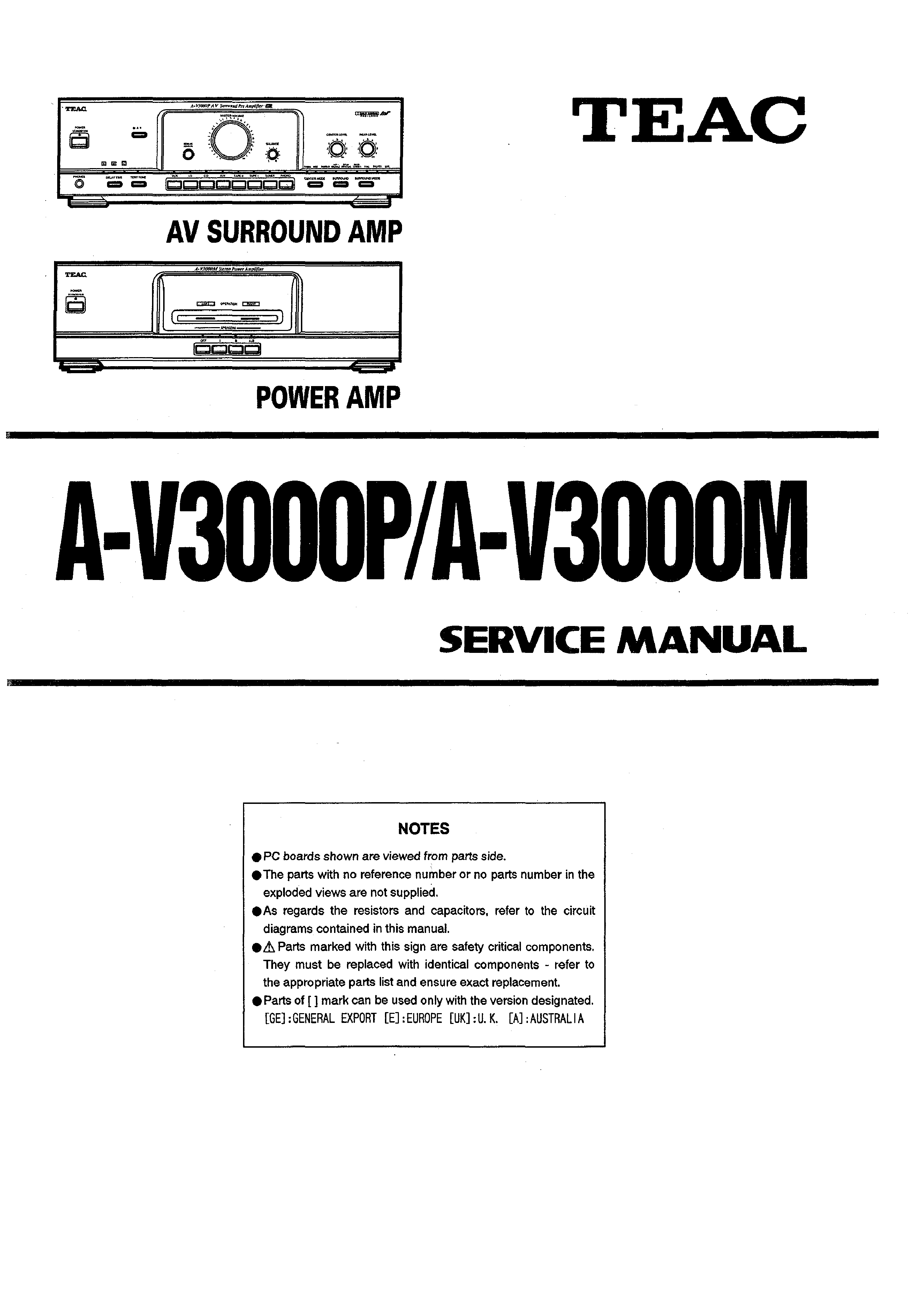 Service Manual for TEAC A-V3000P - Download