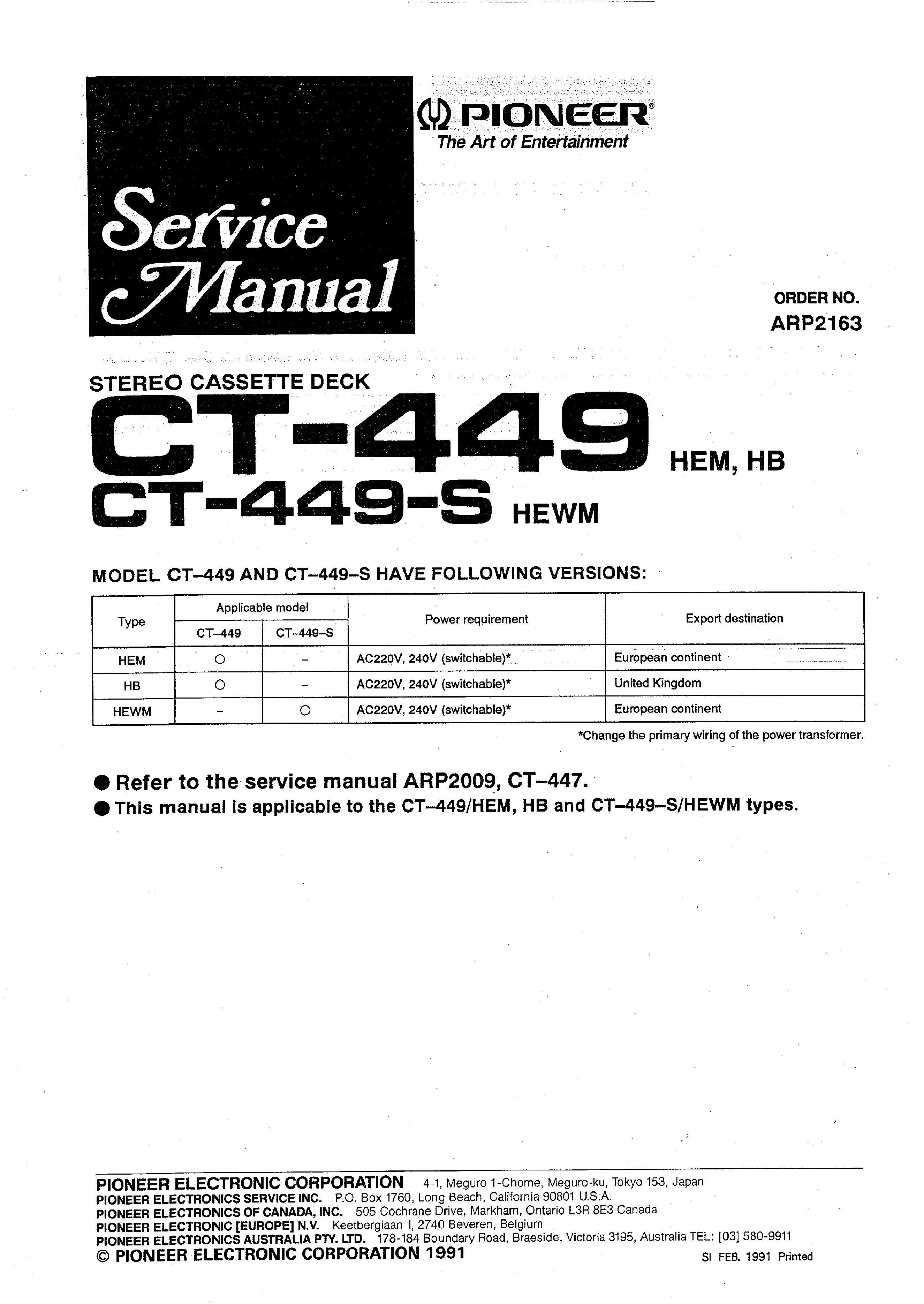 Service Manual For Pioneer Ct-449