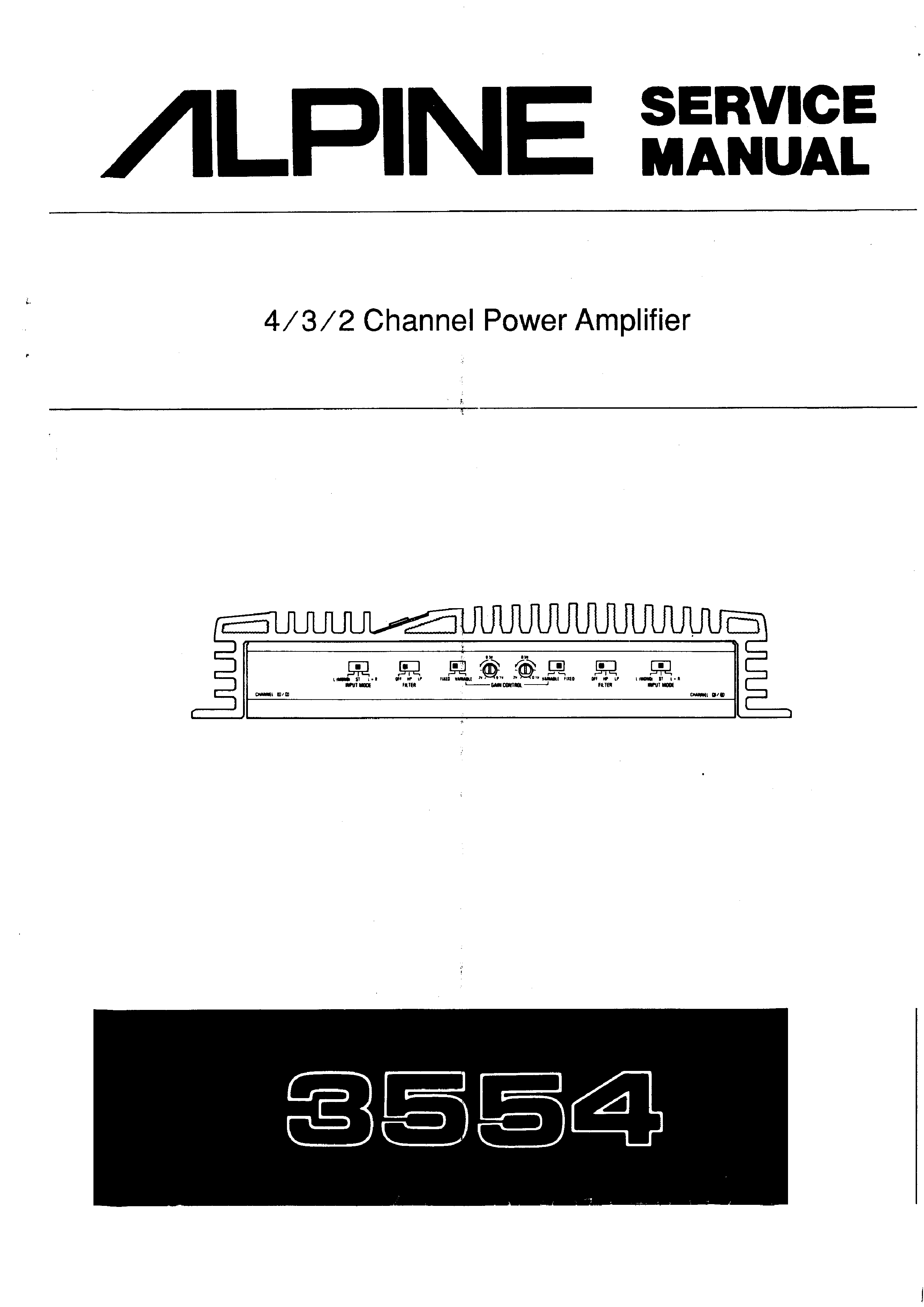 Service Manual For Alpine 3554