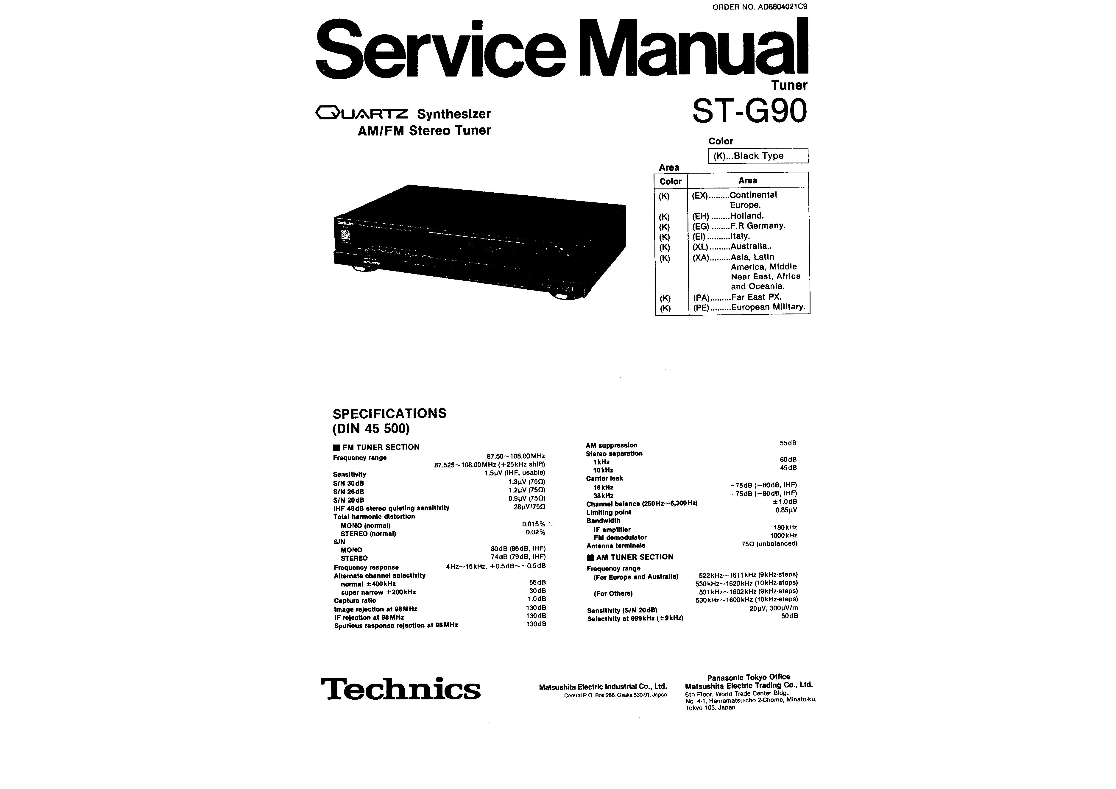 Service Manual For Technics Stg90