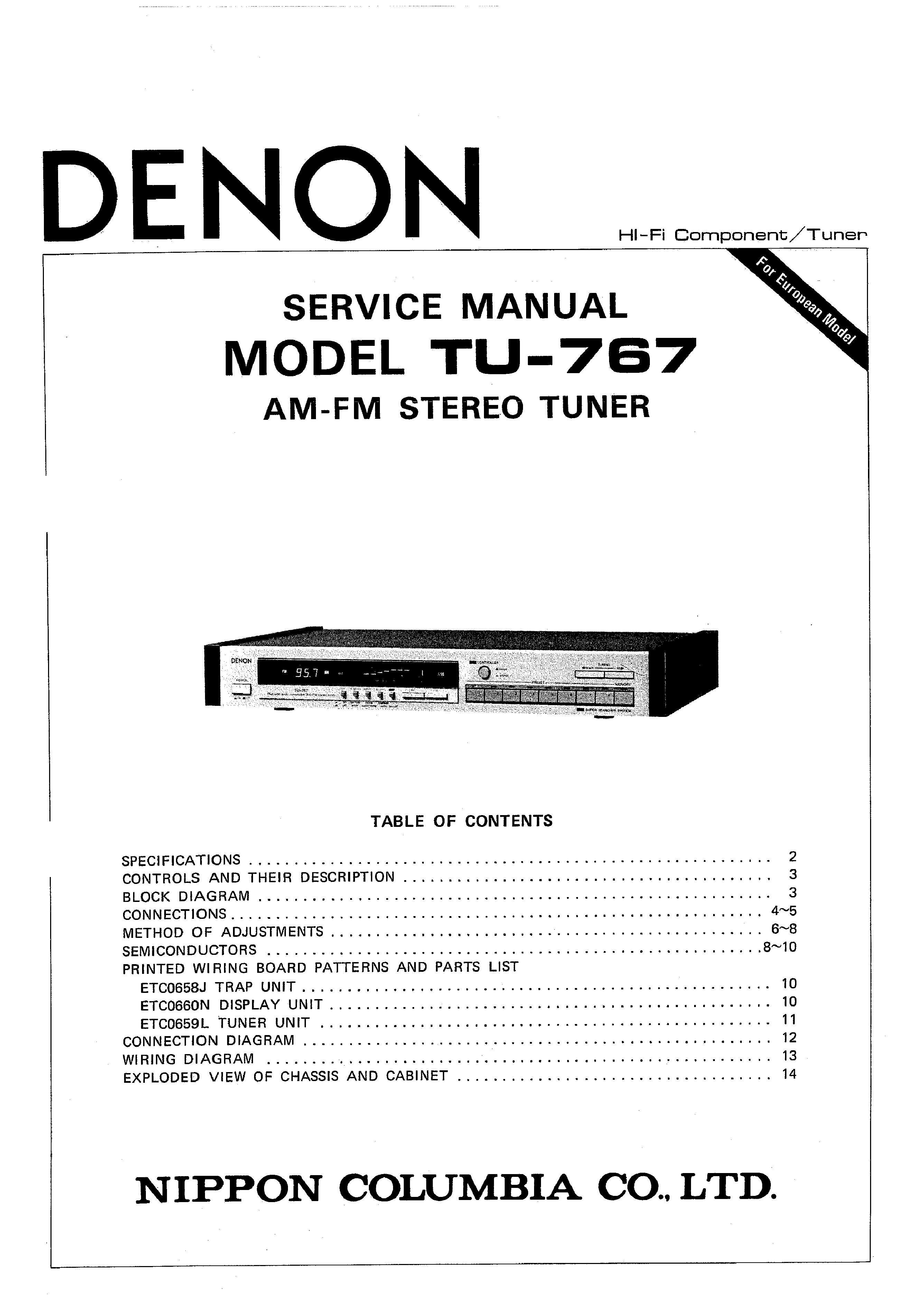 service manual for denon tu-767